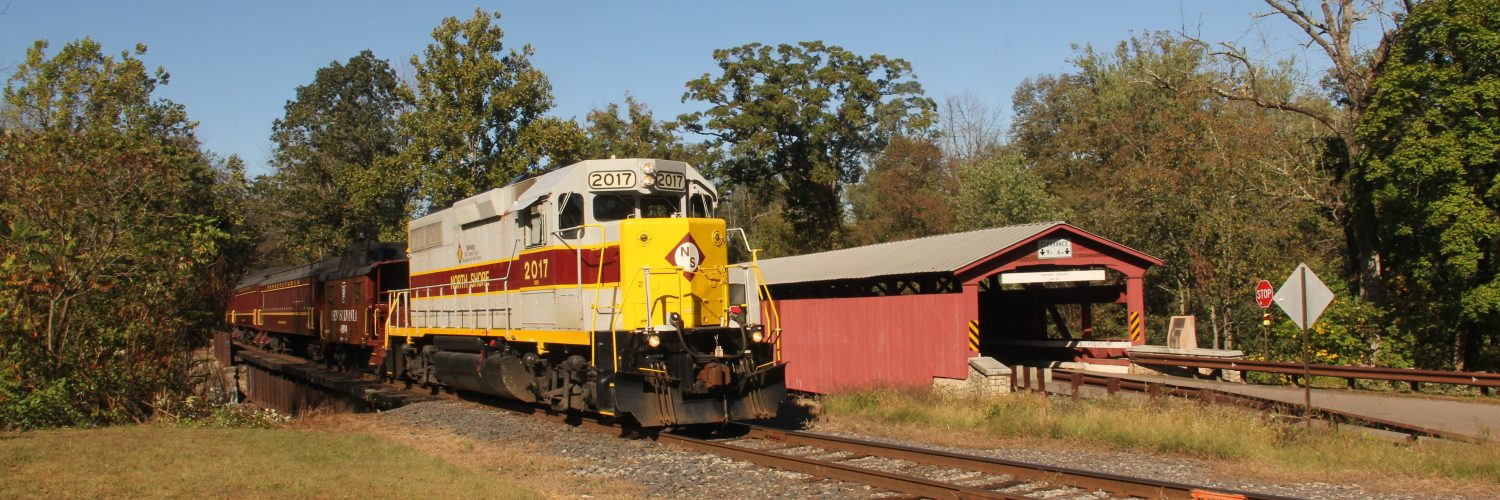 A Lackawanna-inspired paint scheme adorns the locomotive of the Ride The Bloom excursion at Rupert, PA. Photo by Tony Kolativa.